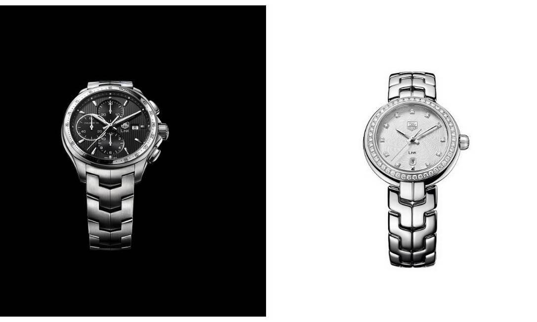 A linha Link, da Tag Heuer (Shopping Cidade Jardim, em São Paulo), tem o modelo masculino (R$ 10.700) e o feminino, com diamantes (R$ 13.950) Divulgação