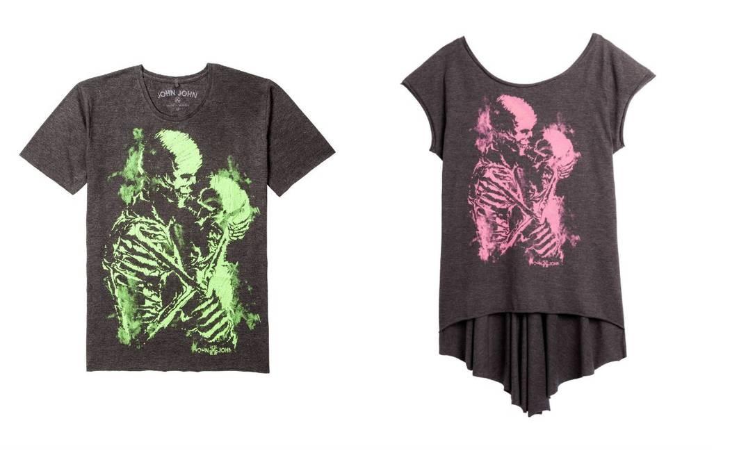 Criação da John John (www.johnjohndenim.com/shoponline) especial para o dia dos namorados. T-shirt para eles (R$ 128) e para elas (R$ 158). Divulgação