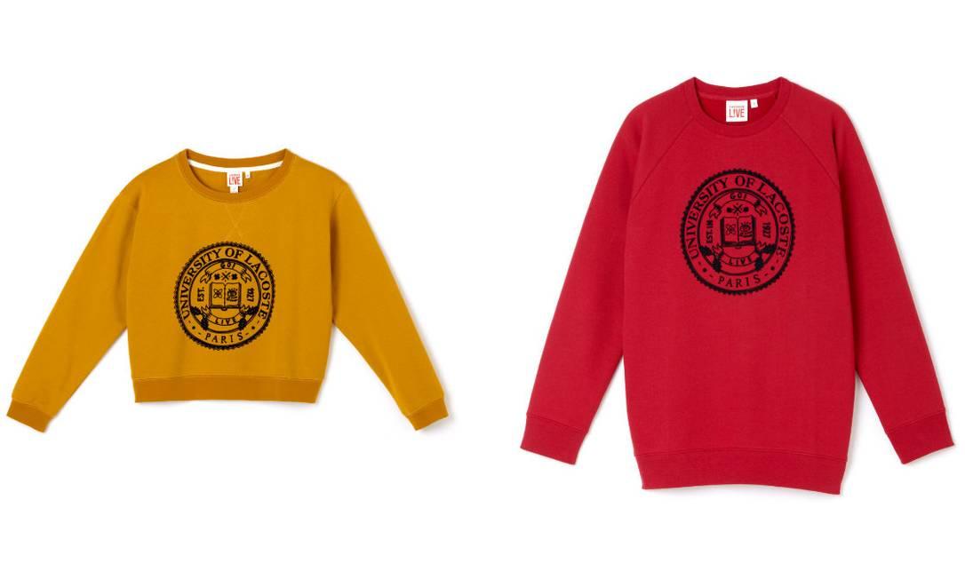 Moletons Lacoste L!ve para ela (R$ 399, o amarelo) e para ele (R$ 389) Divulgação