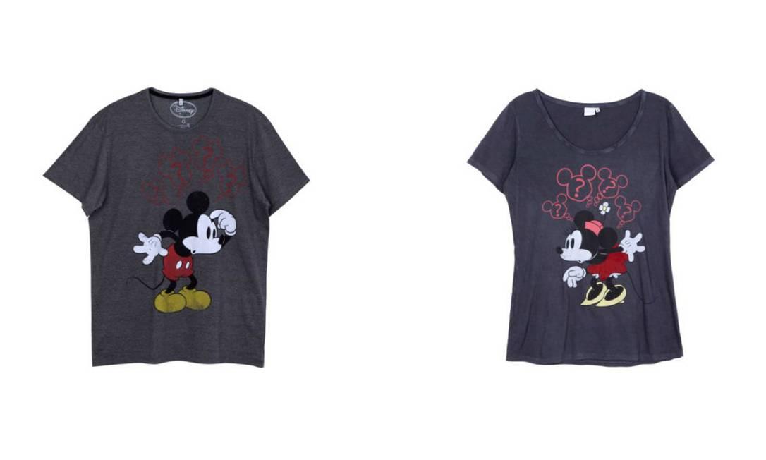 T-shirts do Mickey para ele e para ela na Riachuelo, ambas R$ 29,90 (www.riachuelo.com.br) Divulgação