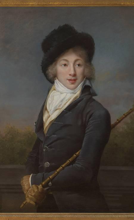 """Auguste Vestris em 1793. Filho ilegítimo, o dançarino era conhecido em Paris como """"o deus da dança"""". Ele foi um precursores dos dândis Foto: Adèle Romany/RISD Museum / Divulgação"""