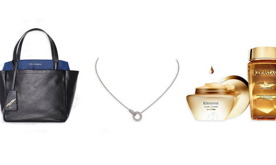 Bolsa Diane von Furstenberg (11 3152-6979), R$ 1.900 / Colar de ouro branco e diamantes Cartier (11 3759-3240), preço sob consulta / Creme de tratamento e Shampoo Kérastase Elixir Ultime (0800 701 7237), R$ 169 e R$ 99 respectivamente Foto: Montagem sobre fotos de divulgação