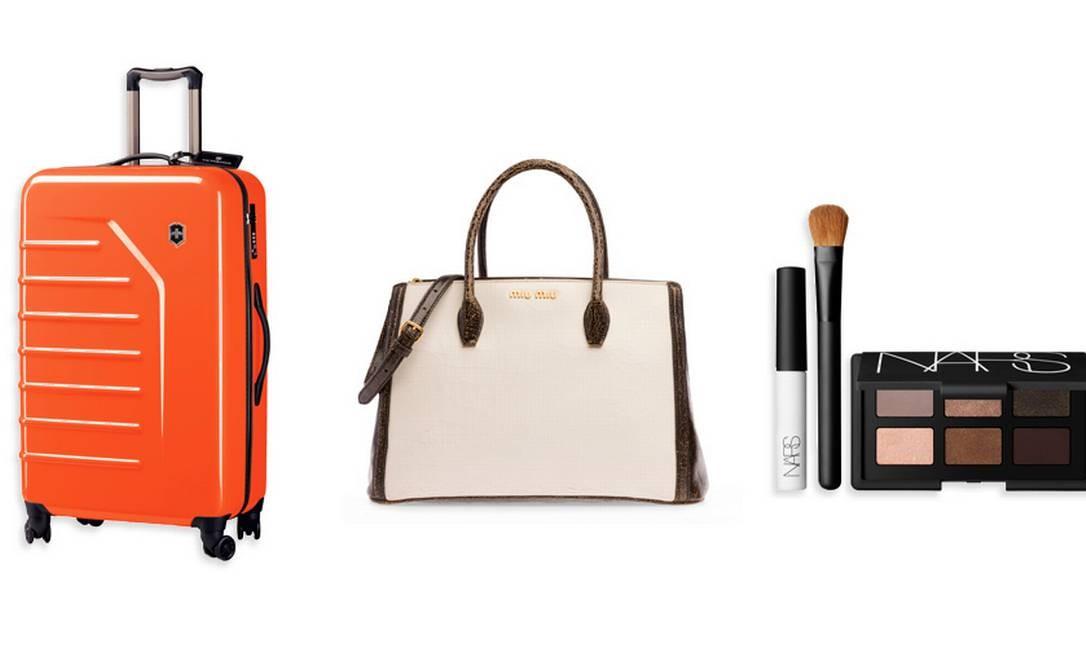 Mala Spectra da Victorinox Travel Gear à venda na loja online All Bags (http://www.allbags.com.br), R$ 1.390 / Bolsa Miu Miu (21 3252-2640), R$ 3.260 / Combo Nars à venda na Sephora (21 3252-2517), R$ 250 Foto: Montagem sobre fotos de divulgação