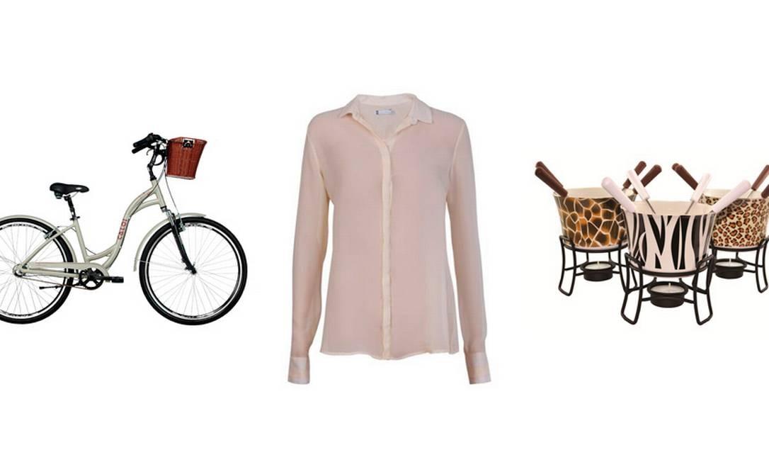 Bicicleta Konstanz da Caloi (11 5853-2744), R$1.499 / Camisa social Riachuelo (21 3003-4342), R$59 / Tigelas para fondue de chocolate Roberto Simões (21 2274-6392), R$ 60 Foto: Divulgação