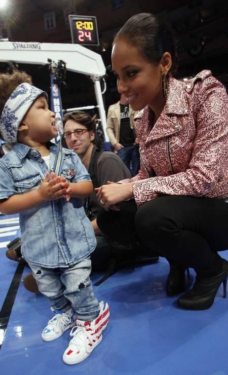 Você colocaria o nome de um país no seu filho? Alicia Keys fez isso: seu filho único, de três anos, chama-se Egypt Daoud (Egito Daoud) Foto: Reuters