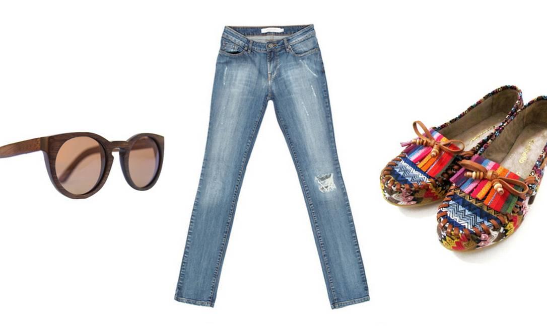 Óculos wood3 Evoke (www.evoke.com.br), R$ 749,90 / Calça jeans Ibiza Ateen (21 2522-1878), R$ 397 / Sapato étnico Karamello (21 2275-6135), R$ 229,90 Divulgação