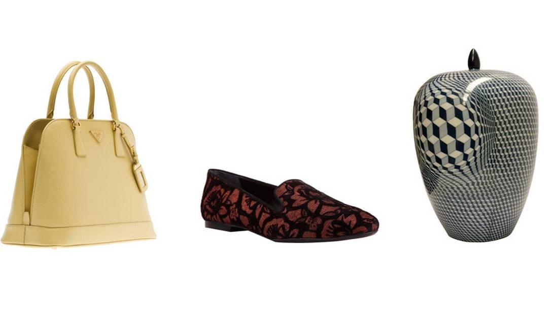 Bolsa Prada (21 3252-2660), R$ 4.660 / Sapato da Schutz (21 2512-4141), R$ 290 / Vaso de cerâmica da loja Rafaella Medina Casa (21 3410-5306), R$ 558 Foto: Montagem sobre fotos de divulgação