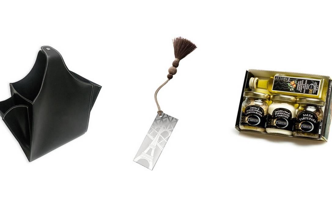 Porta revista e controle remoto da Papel Craft (21 2512-2327), R$ 225 / Marcador de livro da Christofle (11 3864-4288), R$ 150 / Kit trufado da Cosa Nostra Deli (21 2523-2745), R$ 179 Foto: Montagem sobre fotos de divulgação