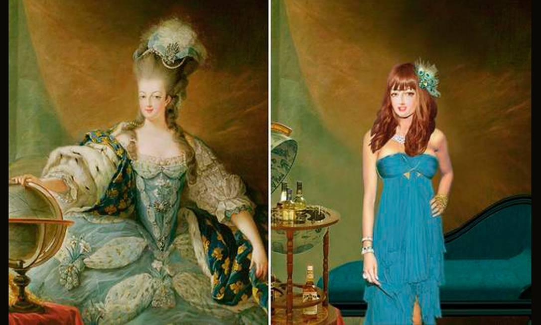 """Claro que não esqueceriam de uma das fashionistas mais conhecidas da história: Maria Antonieta. A rainha da França, que costumava trocar de roupa até três vezes por dia, poderia ser uma forte candidata a it-girl. Obcecada pela aparência do jeito que era, não perderia a chance de fazer um implante de silicone nos seios e de tratar dos dentes. Assim como Michelle Obama, a """"dauphine"""" também seria uma adepta da franja: afinal, o corte seria a melhor solução para disfarçar a sua prolongada testa. Reprodução"""