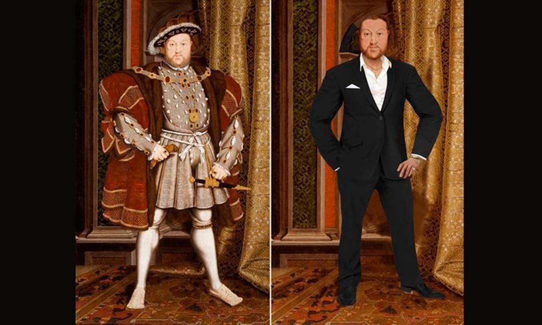 Vaidoso e extravagante, o rei Henrique VII não hesitaria em fazer bronzeamento artificial e em implantar alguns fios para esconder suas entradas - um verdadeiro metrossexual. Nas roupas, o mesmo cuidado: terno impecável, joias e um sapato com salto, para disfarçar a sua altura diminuta. Foto: Reprodução
