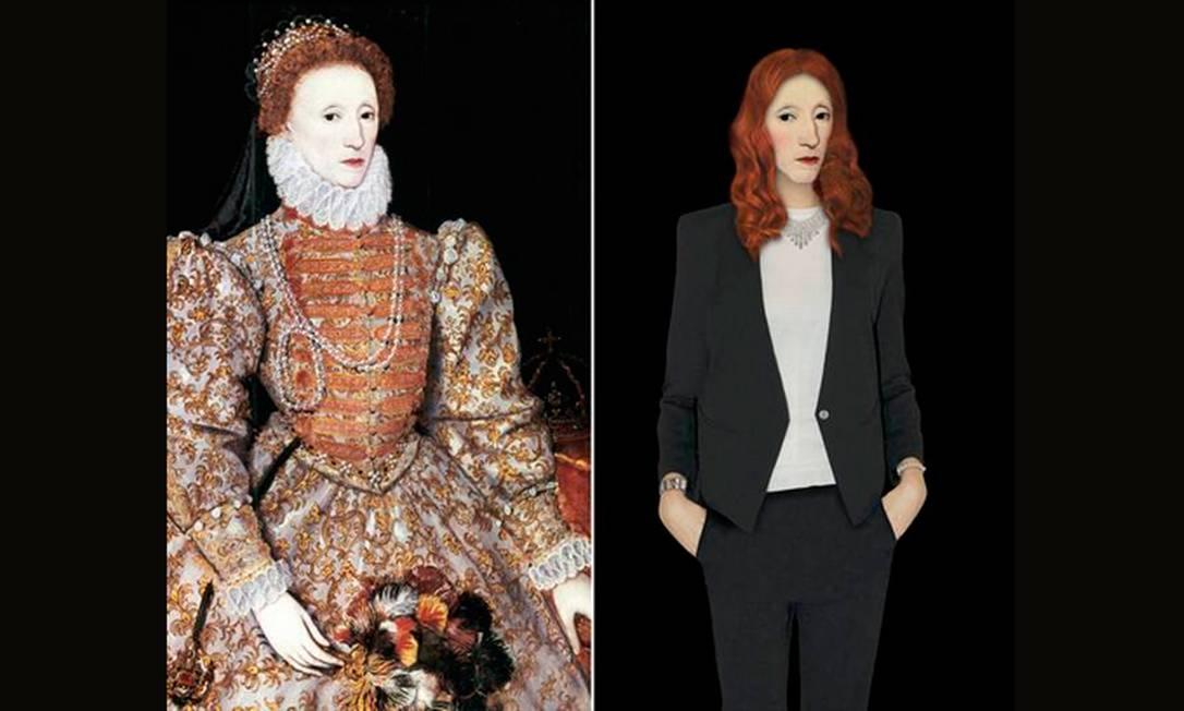 Em outra versão da monarca, Elizabeth I surge com um look mais minimalista, mas igualmente elegante: terninho preto com uma blusa branca, o uniforme da mulher de negócios contemporânea. Reprodução