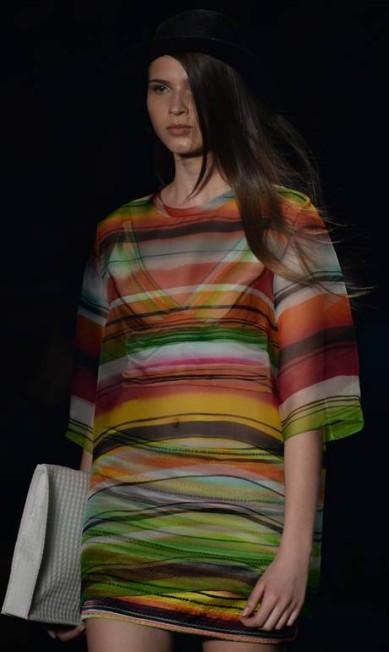 A model presents a creation by Sacada during the 2014 Summer collections of the Rio Fashion Week in Rio de Janeiro, Brazil, on April 17, 2013. AFP PHOTO /VANDERLEI ALMEIDA VANDERLEI ALMEIDA / AFP