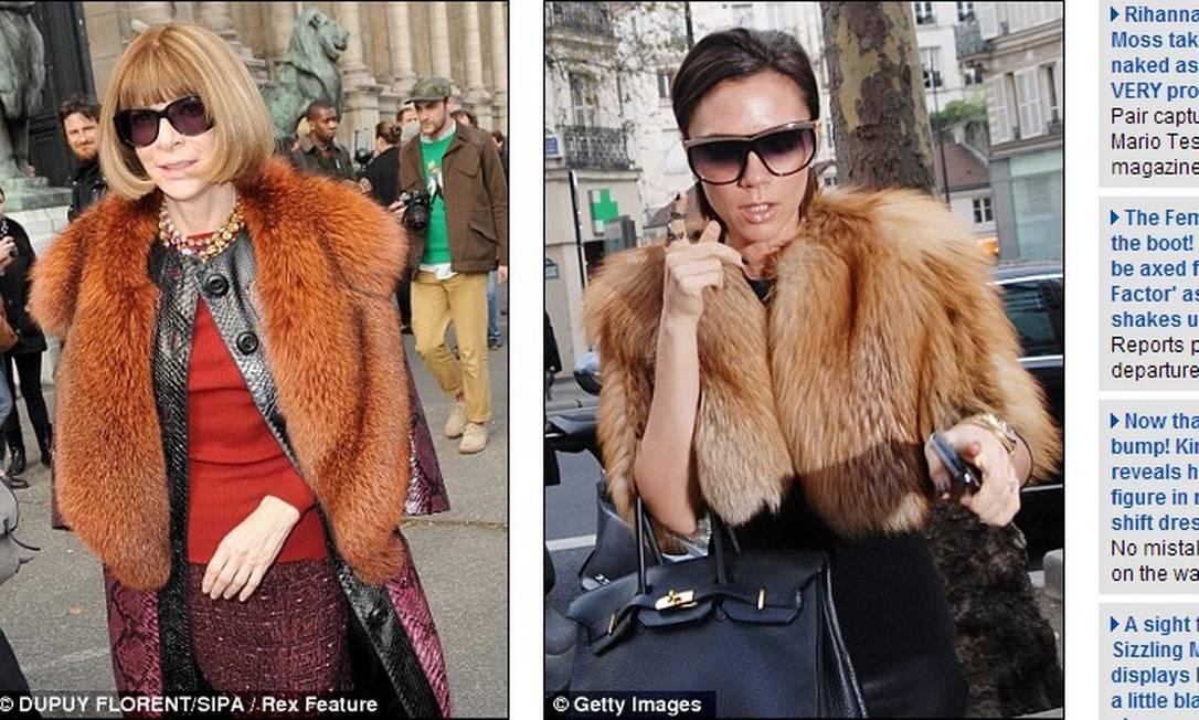 """A editora da """"Vogue"""" americana não faz questão de esconder que é grande fã de peles. O polêmico material também foi visto no corpo de Victoria Reprodução"""