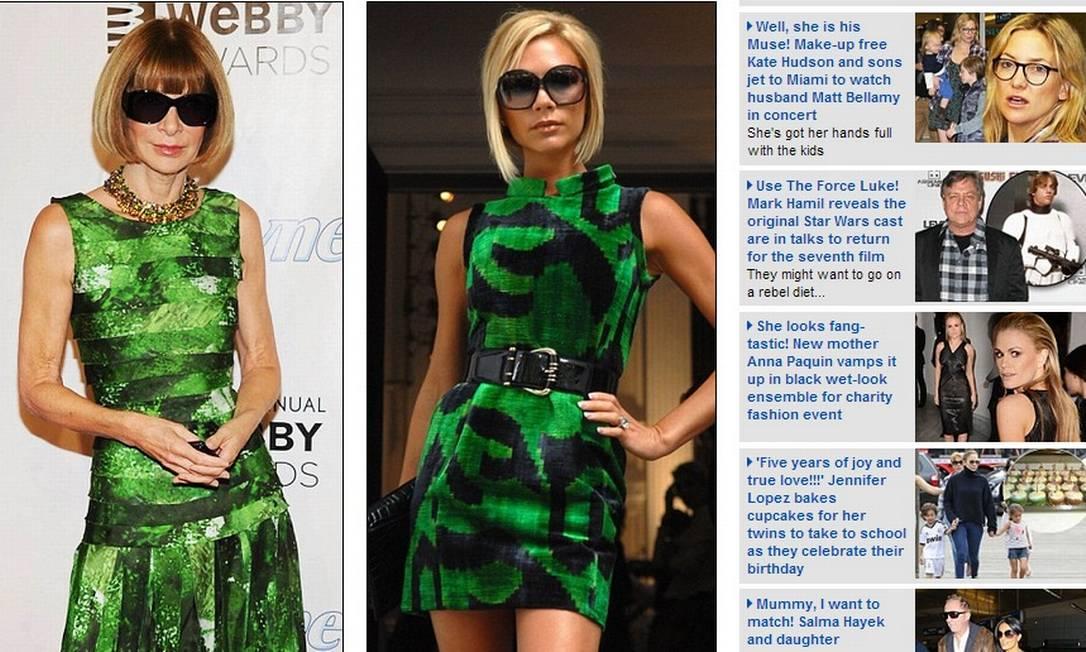 Mais uma escolha em comum: o vestido verde surge como opção no closet das fashionistas. O óculos escuro - usado até à noite e em ambiente fechado -, é mais uma coincidência Reprodução
