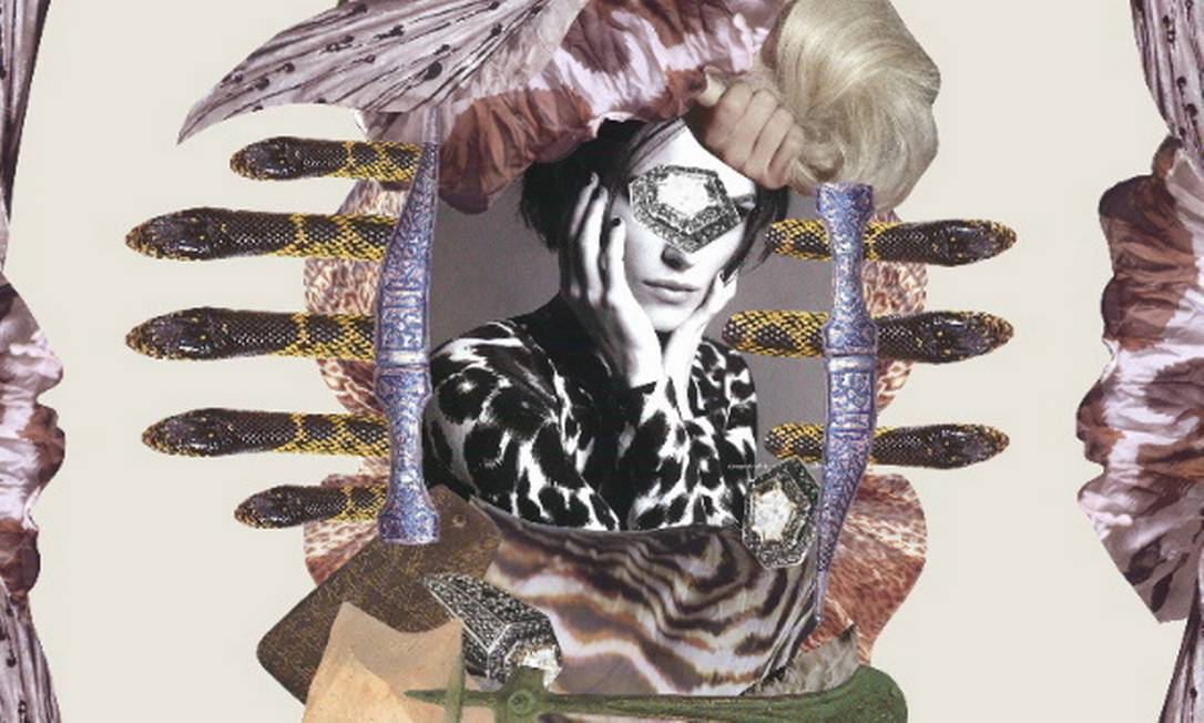 Lenço com colagem de Mari Liberali para Benta Studio, em seda Terceiro / reprodução