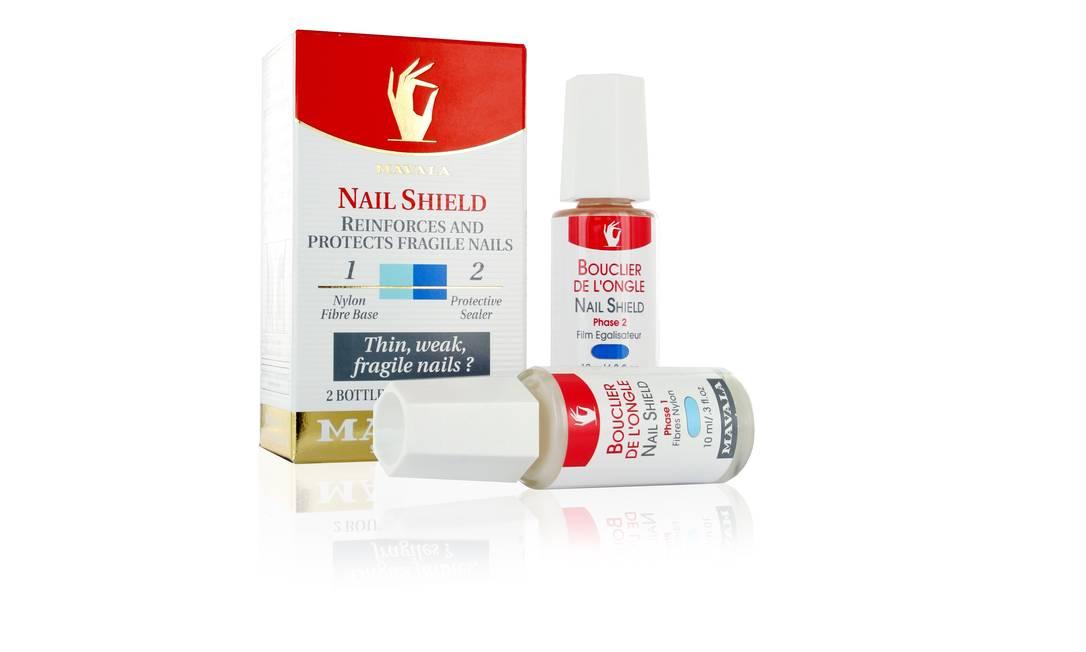Também da Mavala, o Nail Shield (R$ 98,00) é composto por dois produtos. O primeiro é uma base composta por fibras de nylon que reforça a unha frágil, formando uma rede protetora na camada córnea. O segundo produto iguala e alisa a superfície da unha. Divulgação