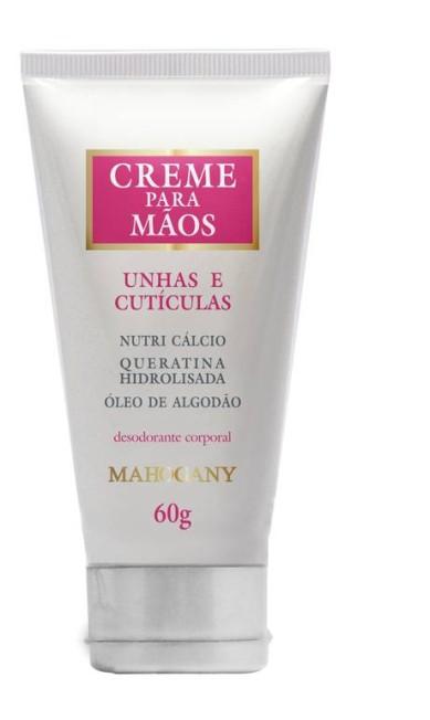 Com óleo de algodão e queratina, o creme de mãos (R$ 19) da Mahagony (www.mahogany.com.br) serve para unhas e cutículas Divulgação