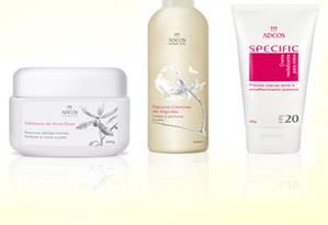 Produtos da ADCOS para o tratamento de spa para as mãos Foto: Divulgação/