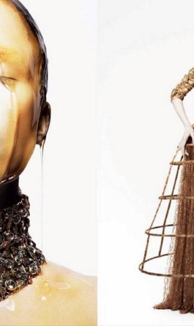 Não satisfeita em ser garota-propaganda das grifes Prada e Salvatore Ferragamo, Raquel Zimmermann ainda foi clicada para a marca Alexander McQueen por David Sims Reprodução