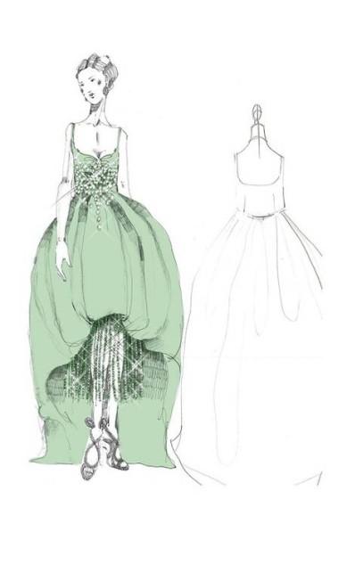 Os desenhos mostram vestidos brilhantes, com franjas e lantejoulas, em tons de esmeralda, topázio e dourado. Já nos tecidos predominam as peles de luxo e veludo Divulgação