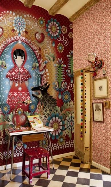 Papel de parede assinado pela ilustradora Catalina Estrada para a grife espanholha Coordoné na By Floor (21 2108-8290), de R$ 486 por R$ 413 reais o rolo medindo 53cm x 10m Divulgação
