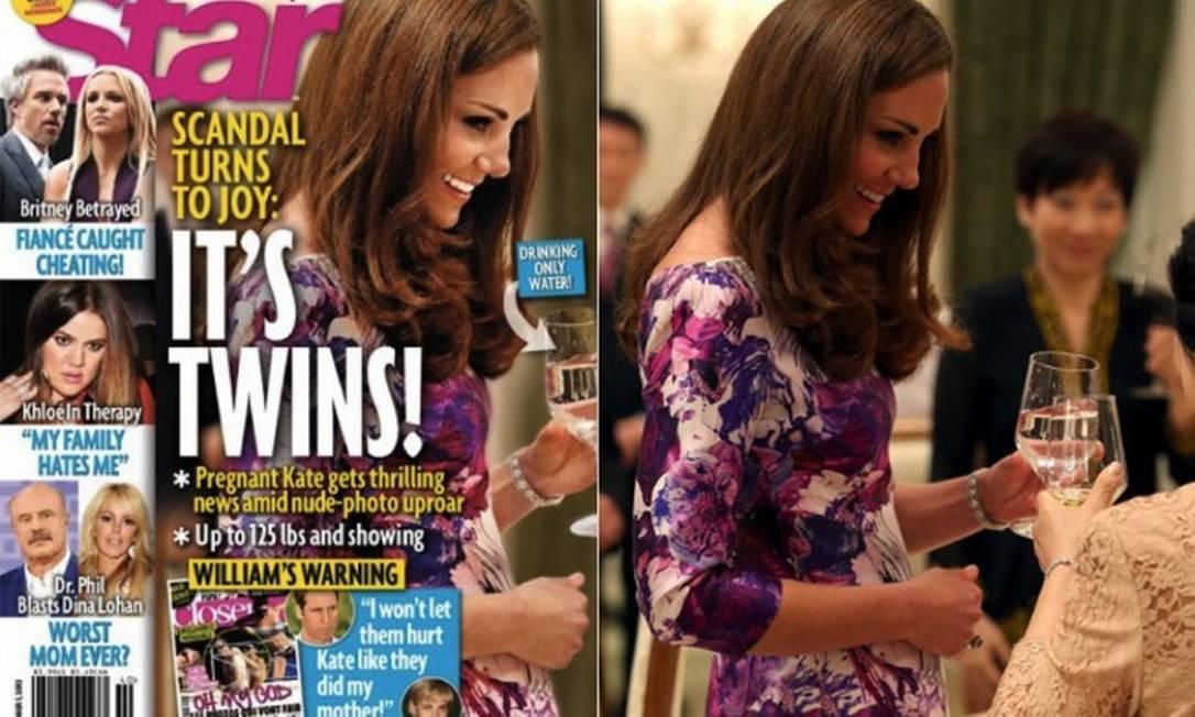 Grávida de quantos meses? Kate Middleton apareceu com a barriga muito maior do que a realidade na capa de uma revista britânica. Reprodução