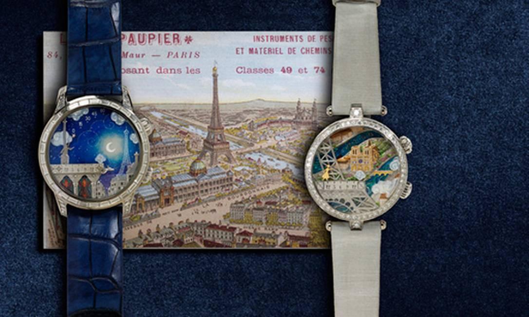 O preço do par de relógios da Van Cleef & Arpels pode assustar. Mas calma, por US$ 1 milhão você leva as peças e duas passagens para Paris e Genebra Reprodução / Neiman Marcus
