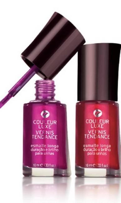 O vernis tendance da L'Bel (0800 778 8992) nas cores Luxe Fucshia e Rouge Framboise também são boas sugestões para quem gosta de cores fortes, por R$ 20,50 (cada) Divulgação