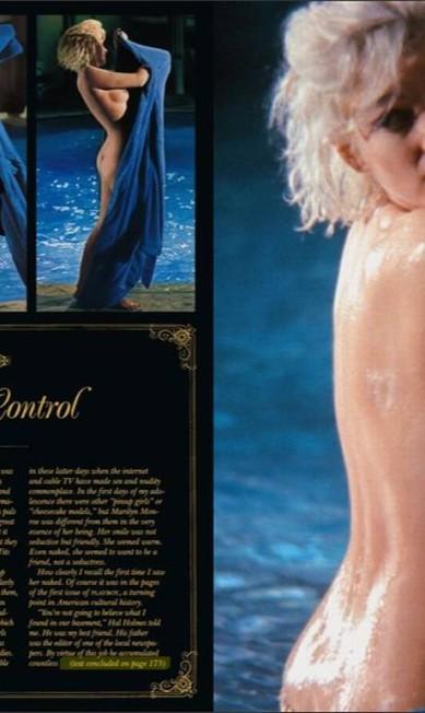 """O ensaio também traz a foto tirada por Lawrence Schiller, dois dias antes da morte da estrela de """"Os homens preferem as loiras"""" Reprodução/ Playboy"""
