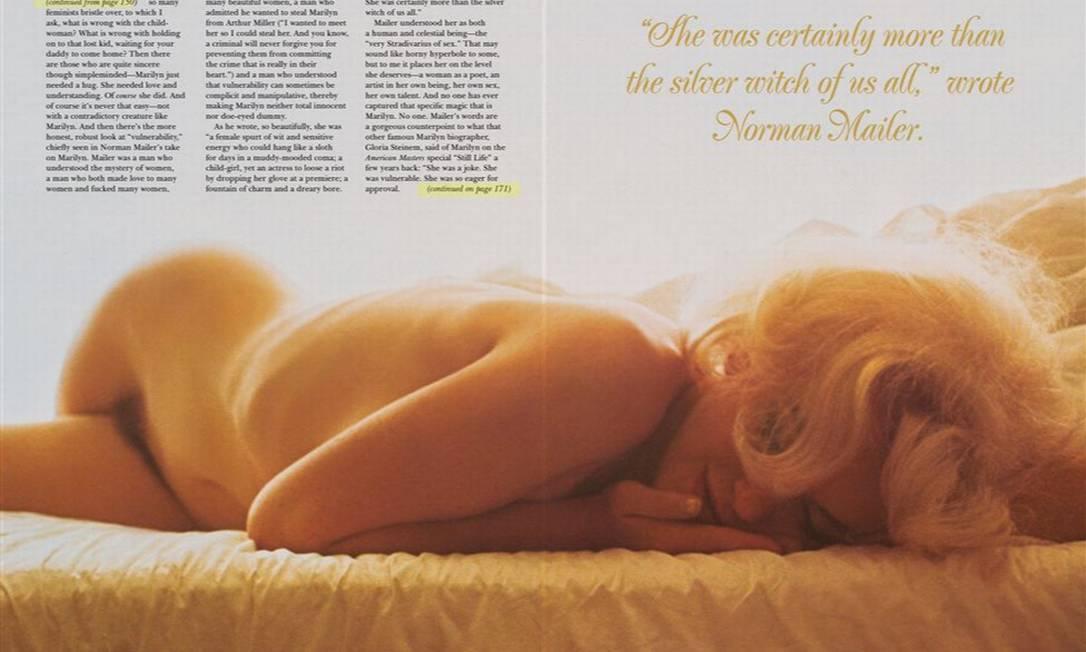 """""""Ela ficava mais controlada quando estava nua. O que seria uma posição de vulnerabilidade para os outros, para ela era uma posição de poder"""", comentou Hugh Hefner, fundador da revista Reprodução/ Palyboy"""