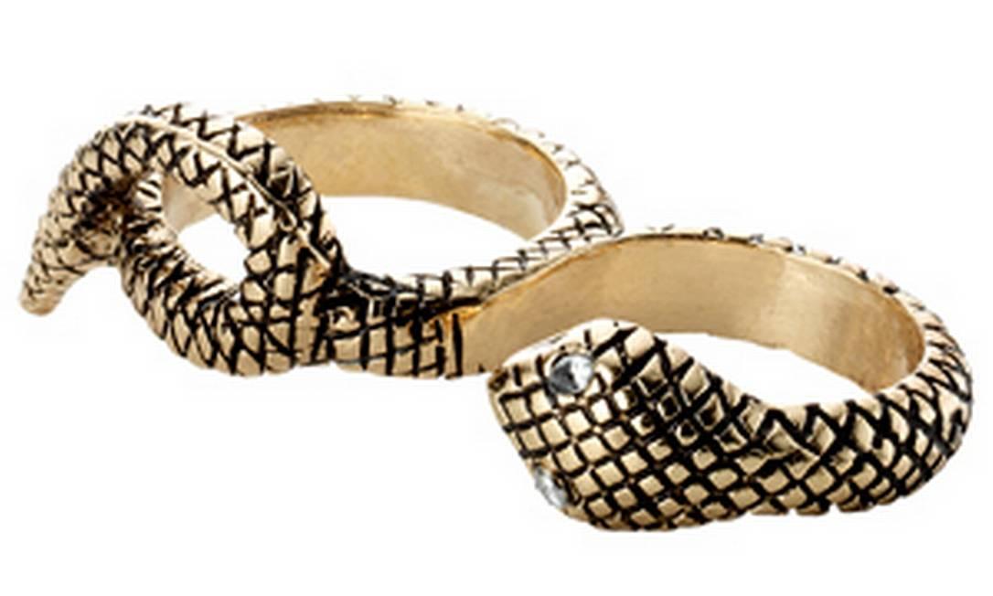 Anel de metal em formato de cobra da Accessorize (21 3326-1778) Divulgação