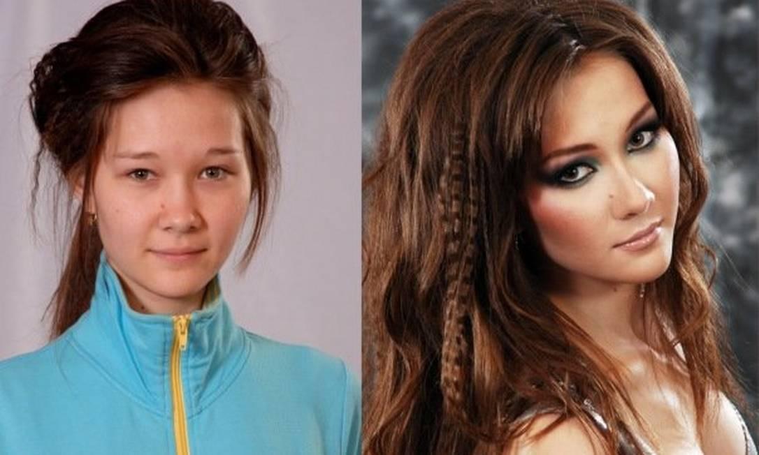 Antes e depois: maquiador russo transforma garotas normais em celebridades Reprodução