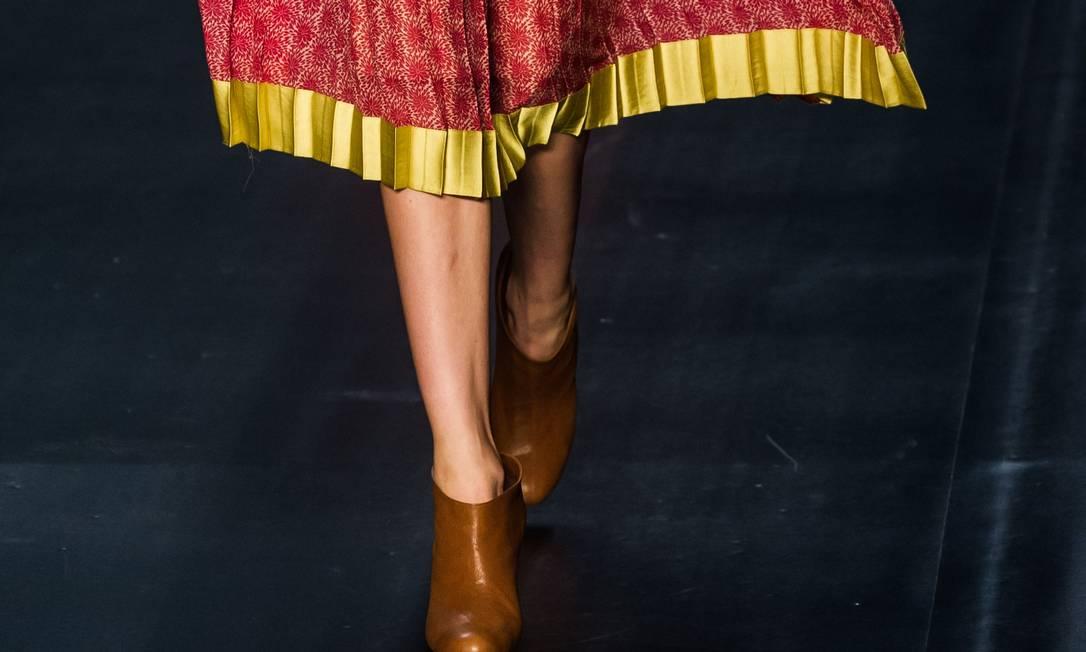 Detalhe dos plissados nos vestidos de Maria Garcia YASUYOSHI CHIBA / AFP PHOTO / Yasuyoshi CHIBA