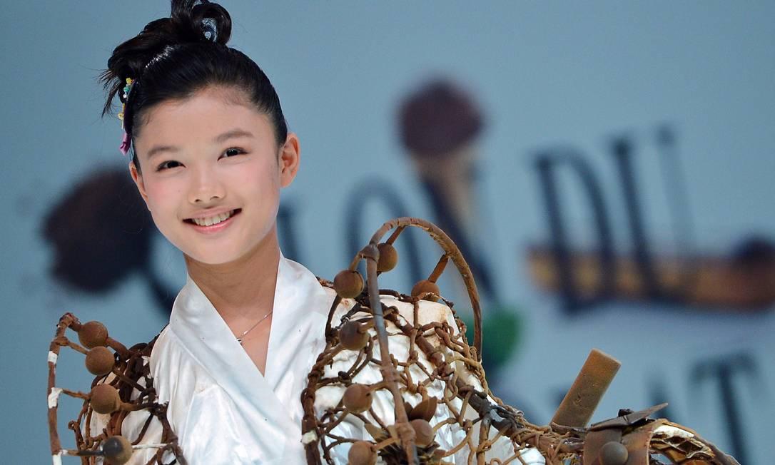 Detalhe para a manga do quimono: trufas tão uma incrementada no visual MIGUEL MEDINA / AFP PHOTO / MIGUEL MEDINA