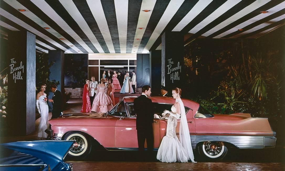 A glamourosa entrada do hotel serviu de cenário para um anúncio de Cadillac em 1957 Cortesia do
