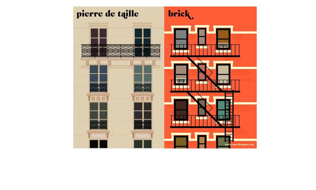 Uma típica fachada parisiense e uma nova-iorquina Reprodução