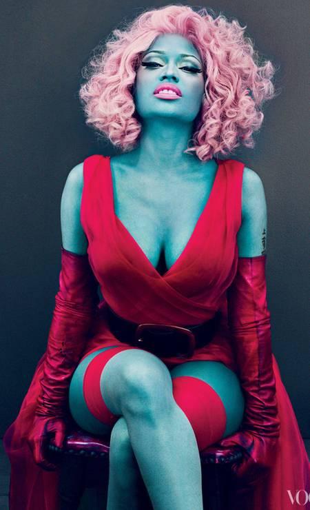 """Nicki Minaj ficou azul nas páginas da """"Vogue"""" americana Foto: Reprodução"""