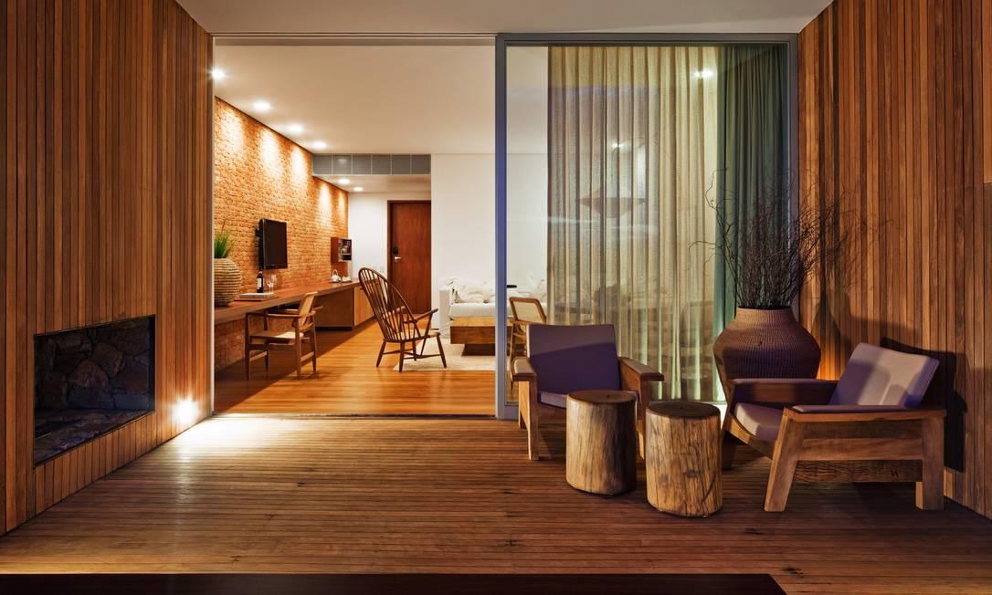 Uma das suítes do hotel: R$1.800 a diária de um apartamento simples Terceiro / Reprodução