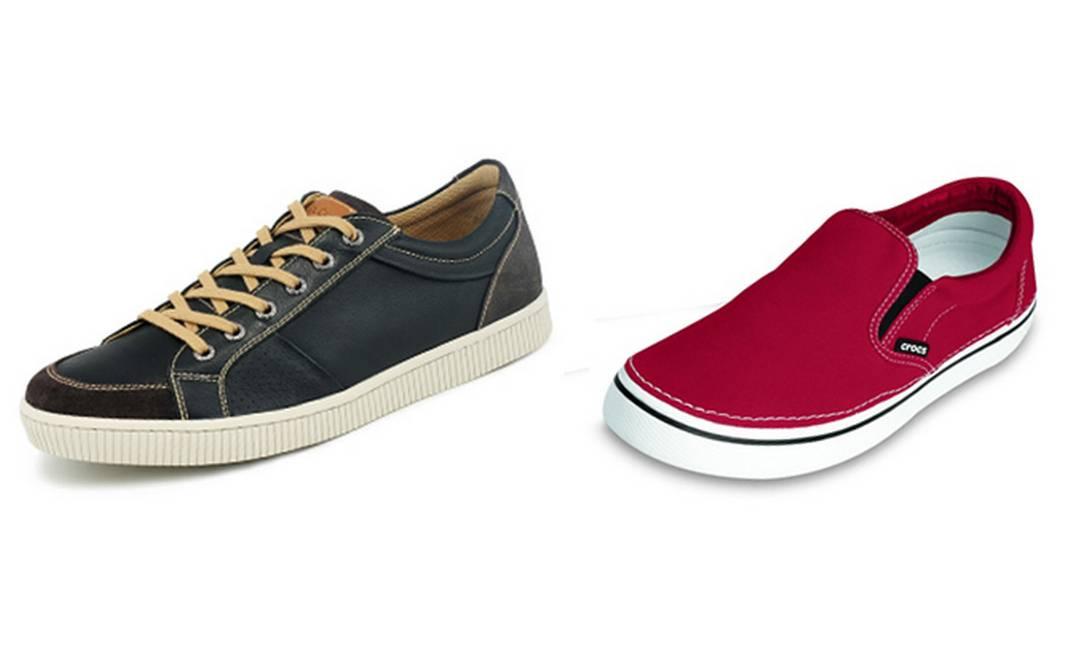 Para os amantes de sapatos: tênis marinho Mr. Cat R$ 239,80 (Rua Visconde de Pirajá número 414, loja D) e sapato vermelho Crocs R$ 109 (www.crocs.com.br) Divulgação
