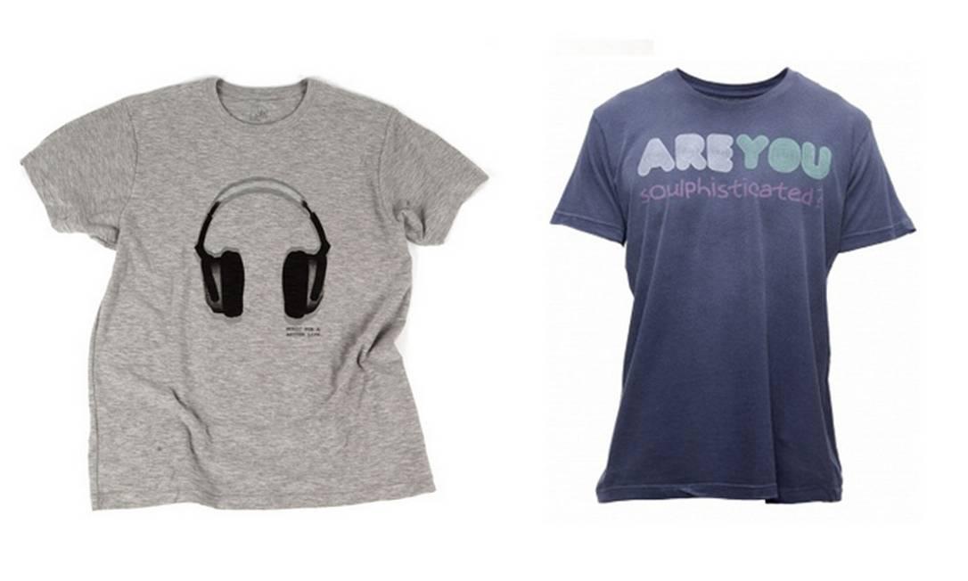 Para os despojados: t-shirt cinza Foxton R$ 89 (Shopping da Gávea) e t-shirt azul Soulphisticated Soul na Dona Coisa R$110 (Rua Lopes Quintas, 153) Divulgação