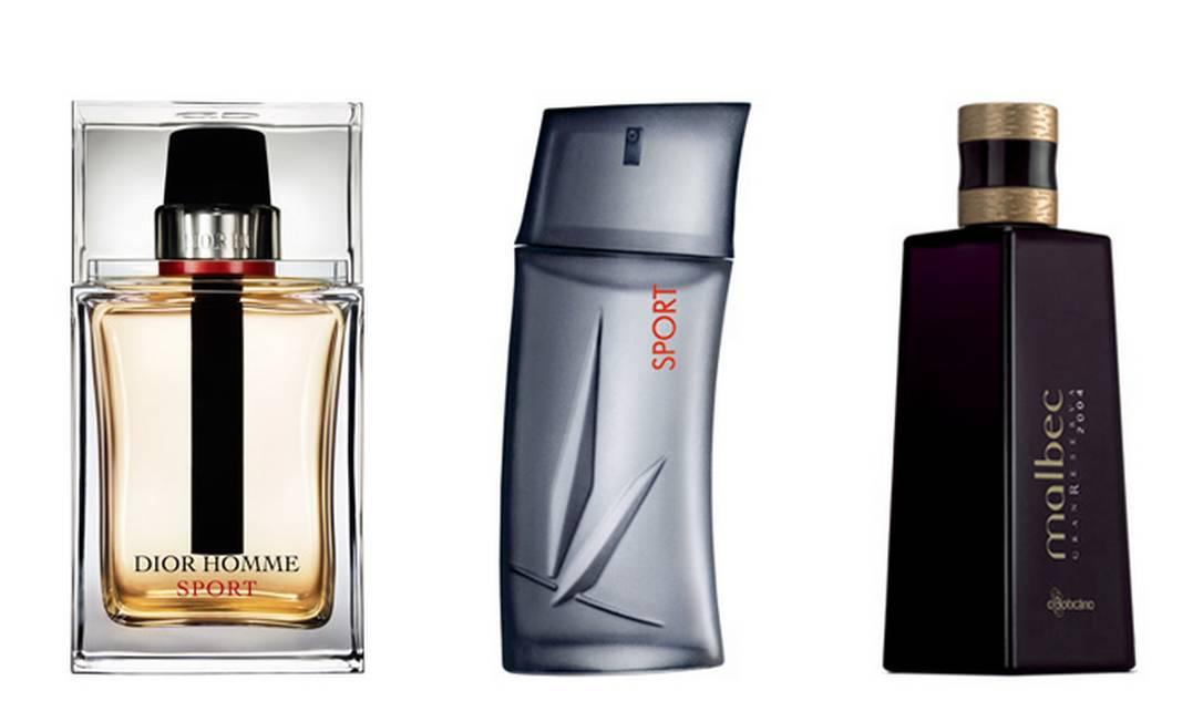 Para os cheirosos: Dior Homme Sport R$ 246 (SAC: SAC 0800 170506), Kenzo Homme Sport 50ml R$ 212 (SAC: 0800 170506) e Malbec Gran Reserva 2004 de O Boticário R$ 150 (SAC: 0800 413011) Divulgação