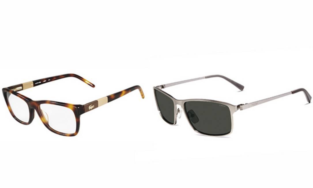 Para os míopes: à esquerda, óculos Lacoste R$ 545 e, à direita, óculos Calvin Klein R$ 780, ambos na Marchon 0800-707-1516 Divulgação