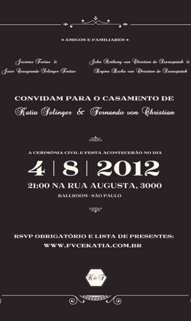 O convite do casamento Arquivo Pessoal