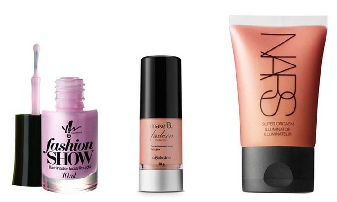 Iluminador Yes! Make.Up da Yes Cosmetics R$19,90 (www.lojayes.com.br), Make B Paris Glow R$ 40,29 (SAC: 0800 413011) e Nars Iluminator R$ 120 (SAC 0800 148 023) Divulgação