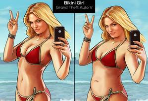 """A personagem acima aparece em """"Grand Theft Auto V"""" e foi remodelada com Photoshop Foto: DIVULGAÇÃO"""