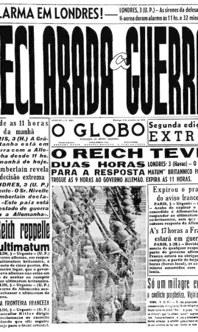 Fim da paz. Inglaterra e França declaram guerra a Hitler, e o mundo mergulha no caos  / Agência O Globo