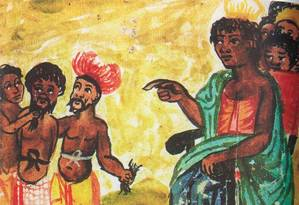 Aquarela mostra a rainha Ginga, de Angola, dando comandos a seu séquito de guerreiros no século XVII Foto: Araldi de Cavazzi