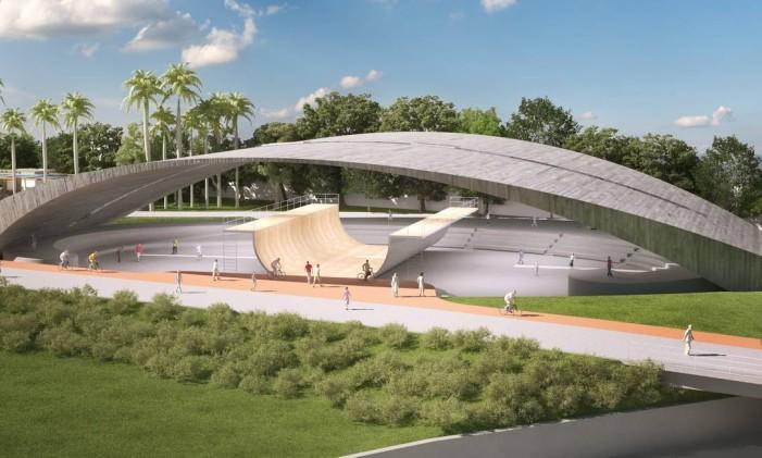 A pista half-pipe será construída sob uma imponente cobertura de concreto Foto: Divulgação