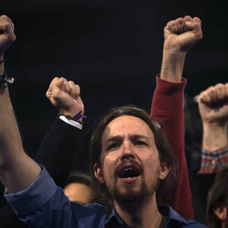 Pablo Iglesias, líder do Podemos. Proximidade com o grego Syriza minou apoio do partido na Espanha Foto: Laura Leon / AP