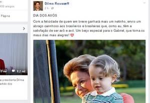 Mensagem no Facebook de Dilma Foto: Reprodução